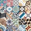 Patchworks from cement tiles