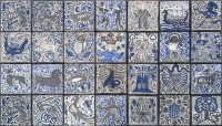 medieval hand painted tiles