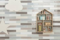 small sized decorative tiles country rustic brick wall