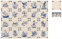 hand painted delft tiles set of 20 pc/patterns