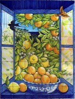 hand painted decorative azulejo mural indoor outdoor