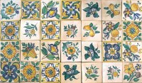 rustic hand painted tiles