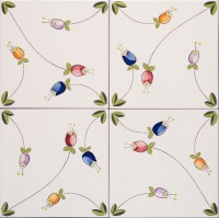 hand painted tiles - floral patterns
