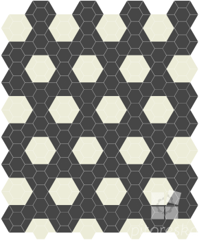 male formaty gres kompozicia hexagon